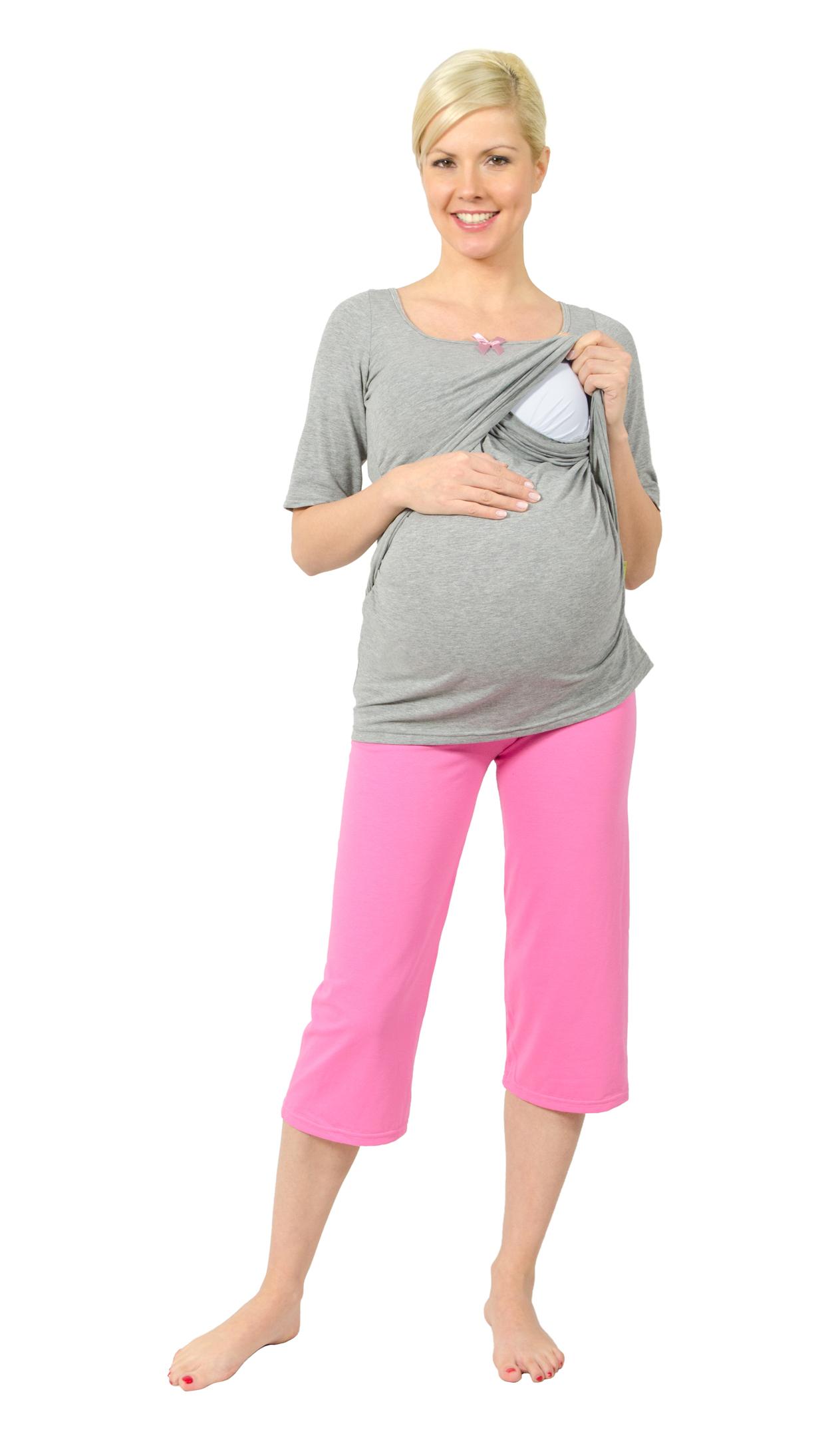 schwangerschafts pyjama stilltop still pyjama still nachthemd nachthemd stillen ebay. Black Bedroom Furniture Sets. Home Design Ideas